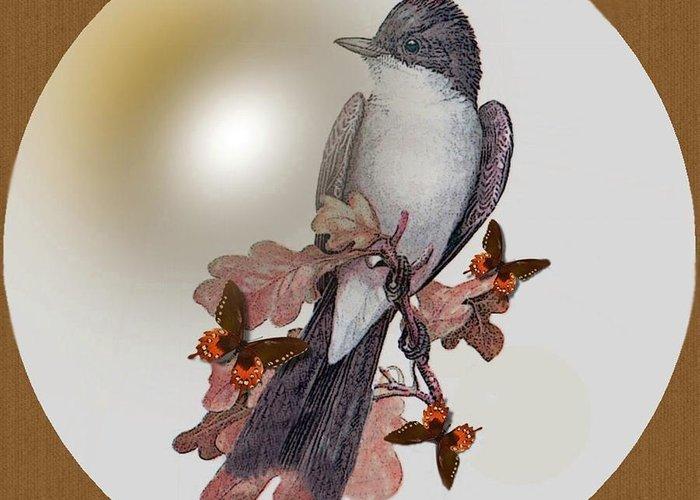 #0397 Eastern Kingbird Greeting Card featuring the digital art Eastern Kingbird by Madeline Allen - SmudgeArt