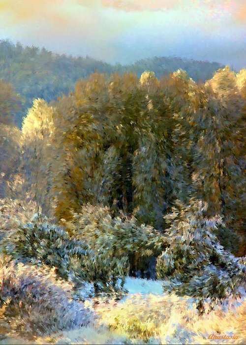 Swirls Of Snow Crystals Mingle With Leaves Blown By Winter�s Breath Greeting Card featuring the photograph First Snow And Bosque Glow by Anastasia Savage Ealy