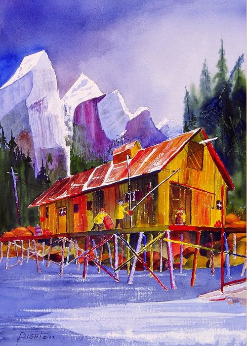 Mountains Greeting Card featuring the painting Fishermans Dock by Buster Dight