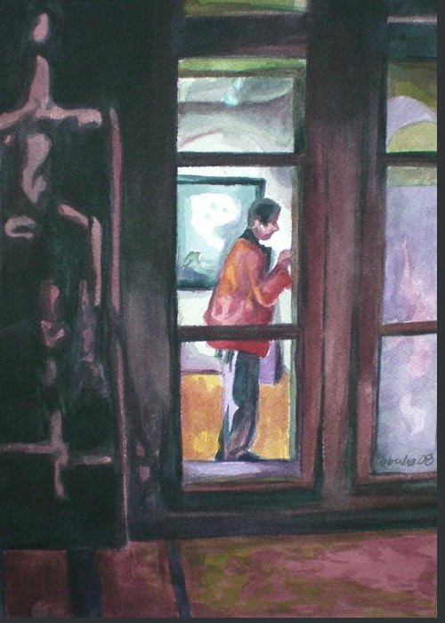 Gallery Visitor Greeting Card featuring the painting Gallery Visitor by Aleksandra Buha