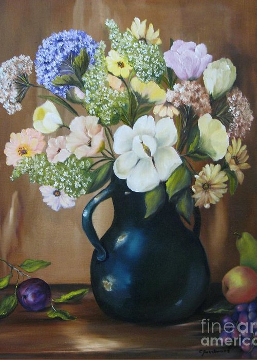 Bouquet Greeting Card featuring the painting Garden Bouquet by Carol Sweetwood