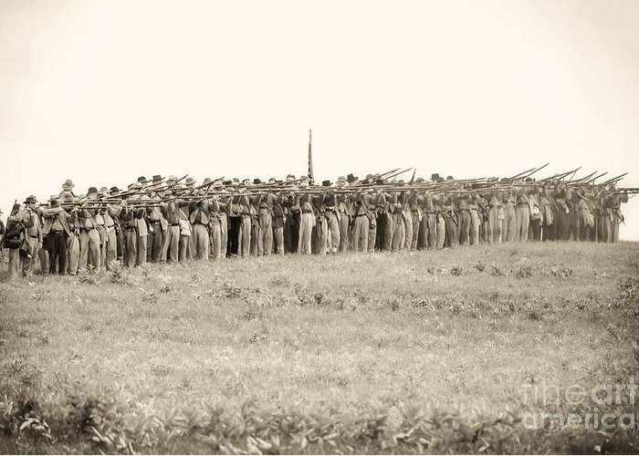 150th Greeting Card featuring the photograph Gettysburg Confederate Infantry 0157s by Cynthia Staley