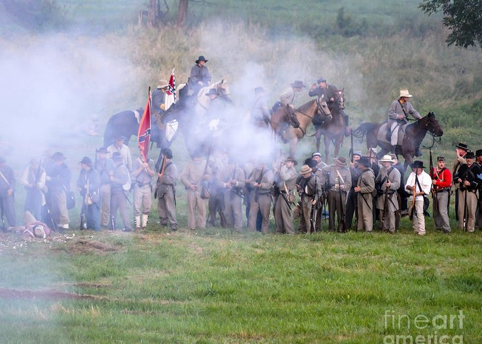 150th Greeting Card featuring the photograph Gettysburg Confederate Infantry 7503c by Cynthia Staley