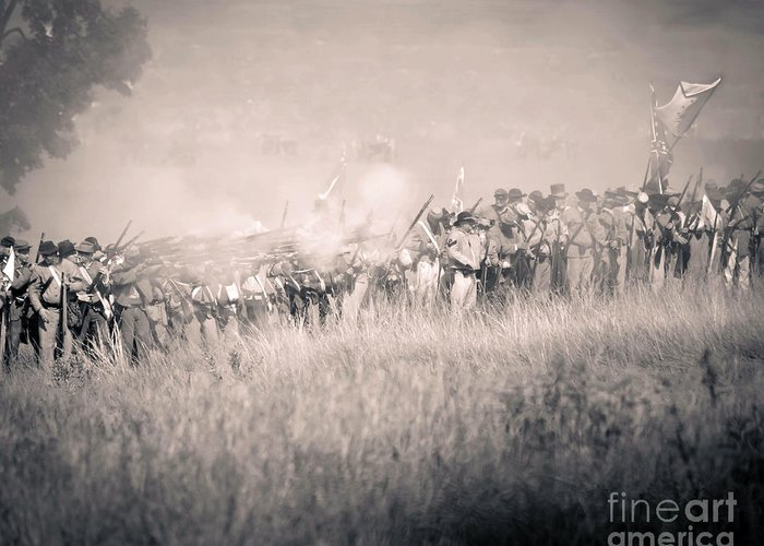 150th Greeting Card featuring the photograph Gettysburg Confederate Infantry 9112s by Cynthia Staley