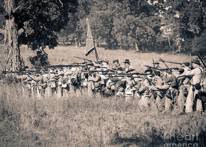 150th Greeting Card featuring the photograph Gettysburg Confederate Infantry 9270s by Cynthia Staley