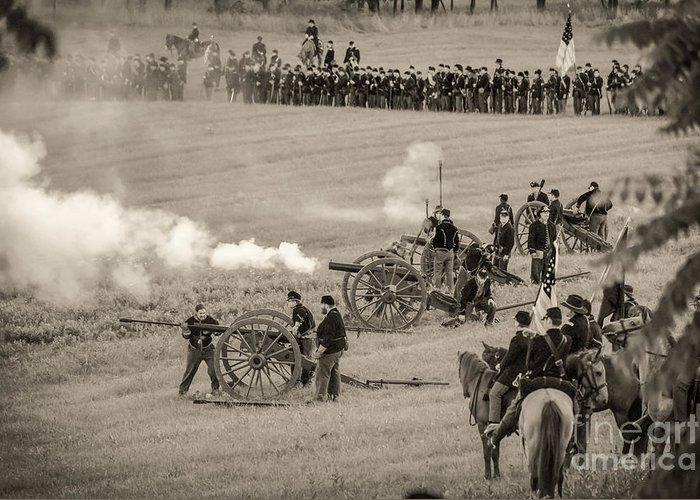 150th Greeting Card featuring the photograph Gettysburg Union Artillery And Infantry 7439s by Cynthia Staley