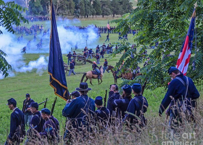150th Greeting Card featuring the photograph Gettysburg Union Artillery And Infantry 7459c by Cynthia Staley