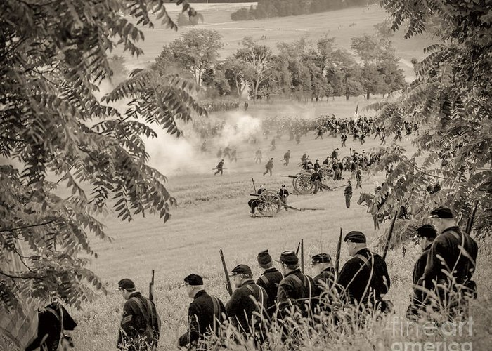 150th Greeting Card featuring the photograph Gettysburg Union Artillery And Infantry 7465s by Cynthia Staley
