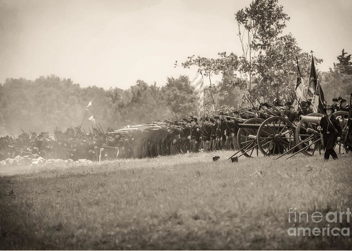 150th Greeting Card featuring the photograph Gettysburg Union Infantry 9968s by Cynthia Staley