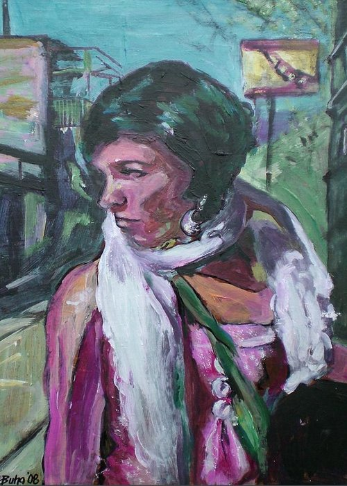 Greeting Card featuring the painting Girl With White Shawl by Aleksandra Buha