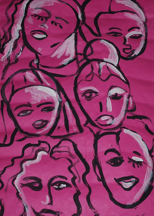 Pink Greeting Card featuring the drawing Girls Think Pink by Aldonia Bailey