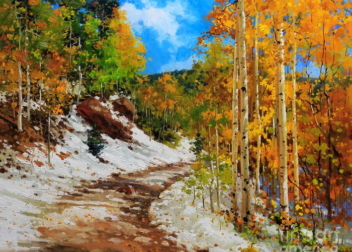 Aspen Tree Greeting Card featuring the painting Golden aspen trees in snow by Gary Kim