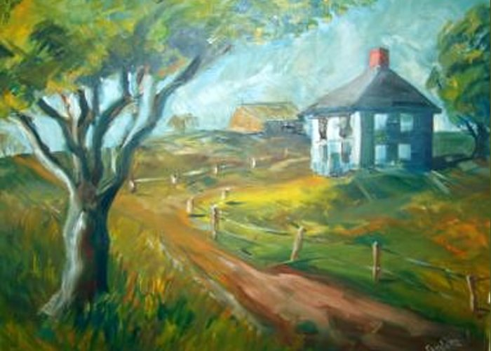 Tree House Barn Land Greeting Card featuring the painting Gorham Farm by Joseph Sandora Jr
