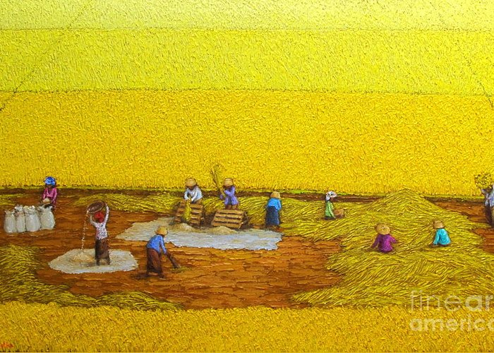 Original Artwork Greeting Card featuring the painting Harvest 17 by Sri Martha