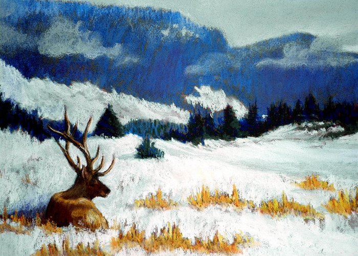 Mountain Snow Landscape Painting Greeting Card featuring the pastel High Country Elk by Curt Peifley