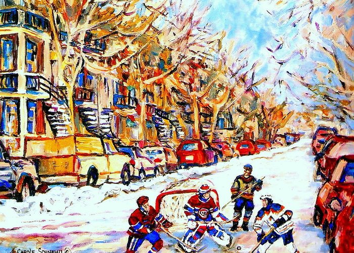 Hockey Greeting Card featuring the painting Hockey Game On Colonial Street Near Roy Montreal City Scene by Carole Spandau