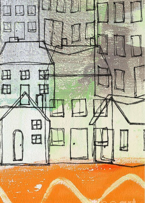 Houses Greeting Card featuring the painting Houses By The River by Linda Woods