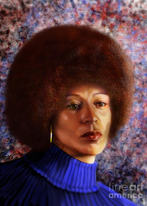 Civil Rights Activist Greeting Card featuring the painting Impassable Me - Angela Davis1 by Reggie Duffie