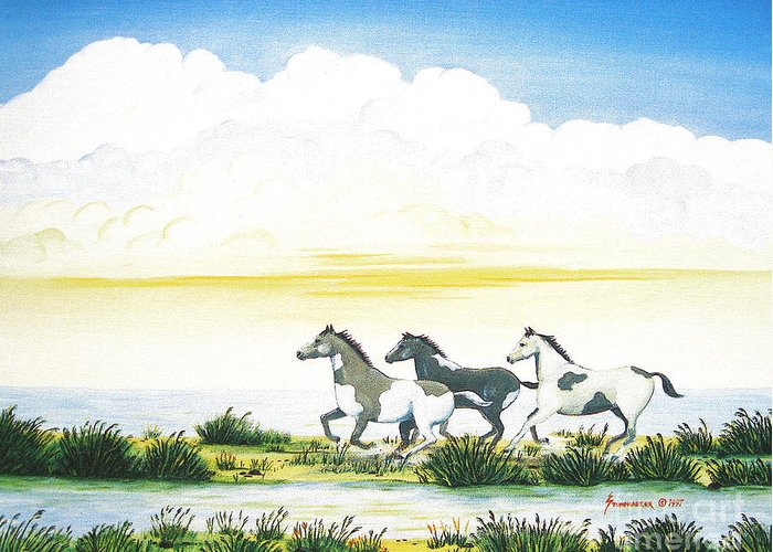 Chincoteague Greeting Card featuring the painting Indian Ponies by Jerome Stumphauzer