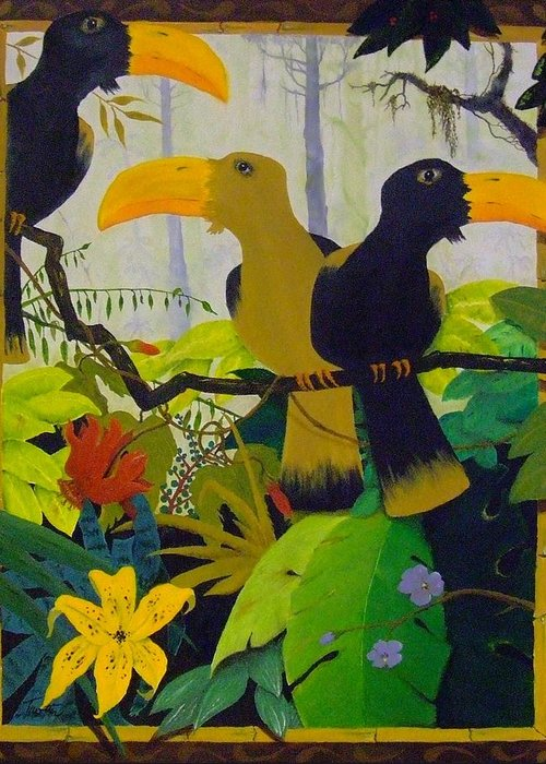 Jungle Greeting Card featuring the painting Jungle Boogie by Patrick Trotter