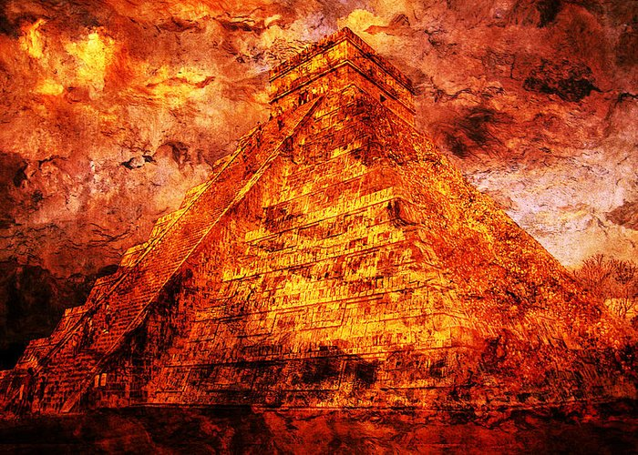 Mayan Digital Art Greeting Card featuring the digital art C H I C H E N . I T Z A . Pyramid by J - O  N  E