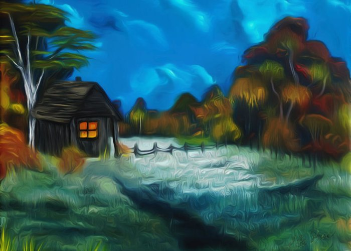 Farm Greeting Card featuring the painting Little Pig's Barn In The Moonlight Dreamy Mirage by Claude Beaulac
