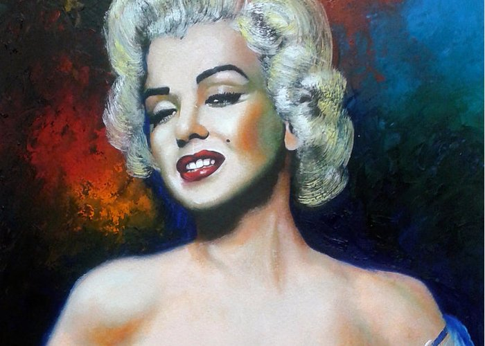 Women Star Greeting Card featuring the painting M. Monroe by Jose Manuel Abraham