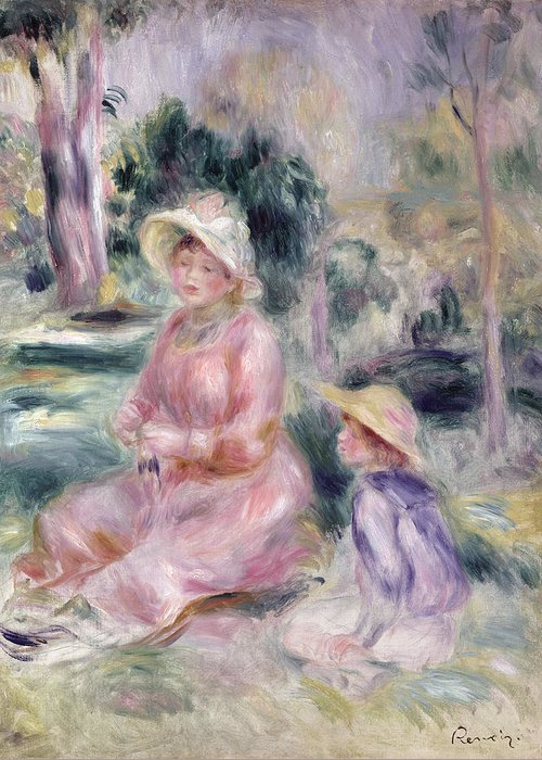 Impressionist; Portrait; Mother And Child; Boy; Sun Hat; Garden; Fils Greeting Card featuring the painting Madame Renoir And Her Son Pierre by Pierre Auguste Renoir