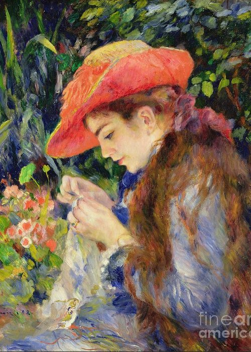 Female;portrait;hat;profile;concentration;concentrating;needlework;absorbed;impressionist;al Fresco;summer;domestic;colourful Greeting Card featuring the painting Marie Therese Durand Ruel Sewing by Pierre Auguste Renoir
