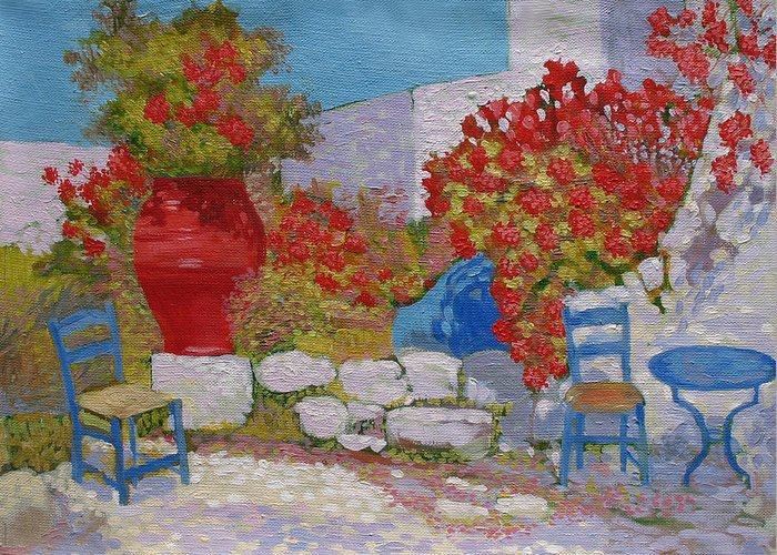 Landscape Greeting Card featuring the painting Mediterranean Courtyard.2003 by Natalia Piacheva