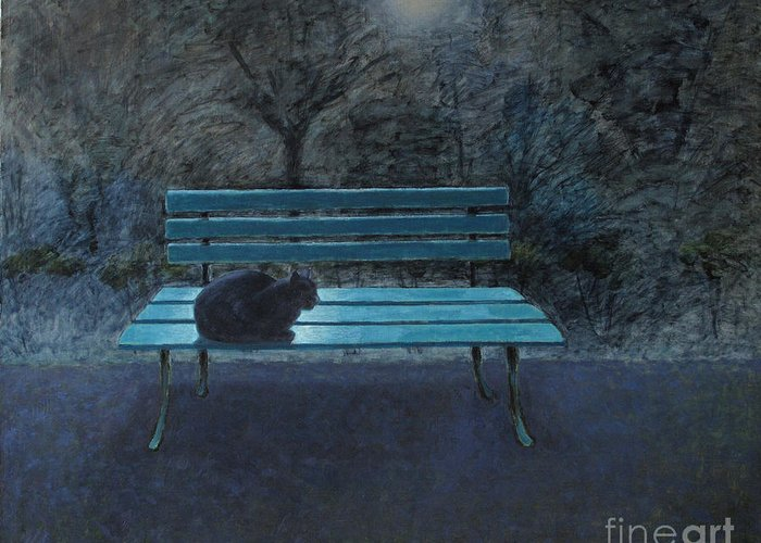 Black Cat Greeting Card featuring the painting Night in the Garden by Raimonda Jatkeviciute-Kasparaviciene