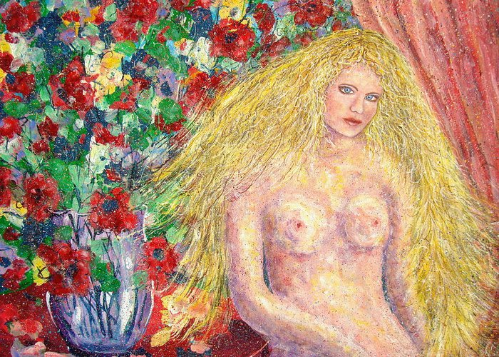 Nude Greeting Card featuring the painting Nude Fantasy by Natalie Holland