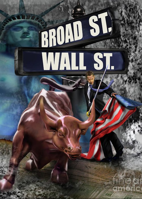 Wall Street Greeting Card featuring the painting Ole Obama - Ole - Ole - Ole by Reggie Duffie
