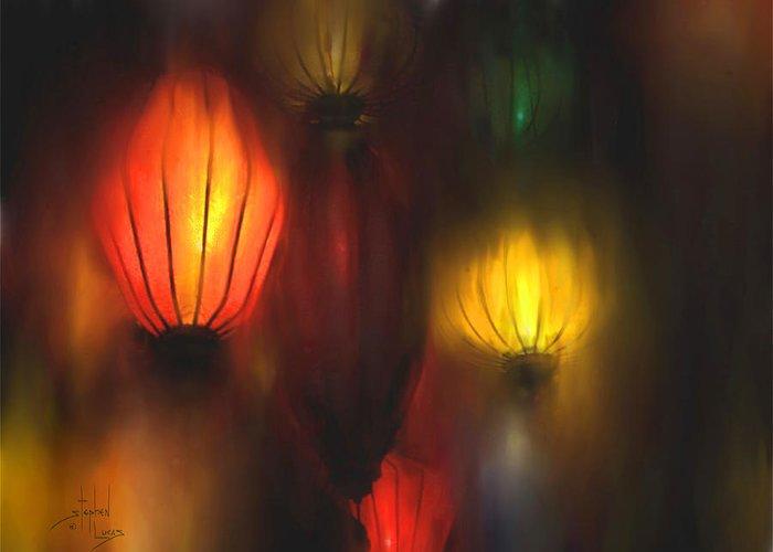 Lanterns Greeting Card featuring the painting Orange Lantern by Stephen Lucas