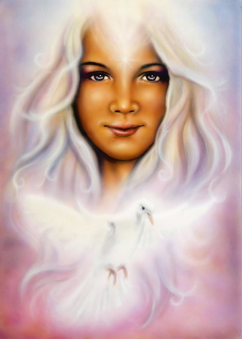 Medium Greeting Card featuring the painting Painting Of A Young Girls Angelic Face With Radiant White Hair And A Shining Dove by Jozef Klopacka