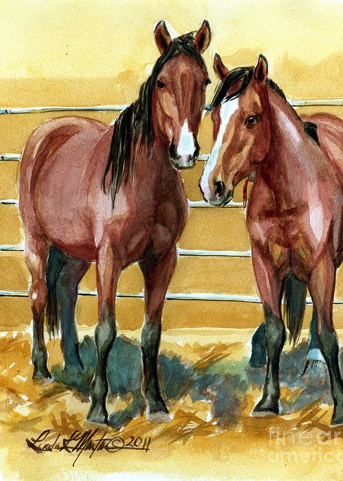 Mustang Greeting Card featuring the painting Pick Up Day by Linda L Martin