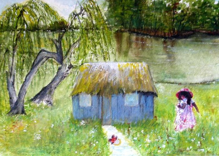 Greeting Card featuring the painting Playhouse By The Lake by Sibby S