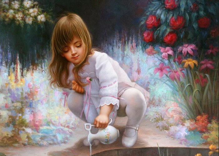 Contemporary Art Greeting Card featuring the painting Pond And Girl by Yoo Choong Yeul