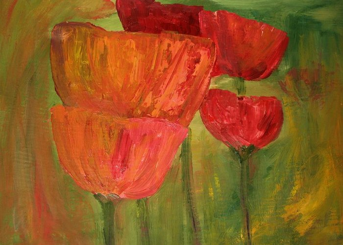 Flowers Greeting Card featuring the painting Poppies 2 by Julie Lueders
