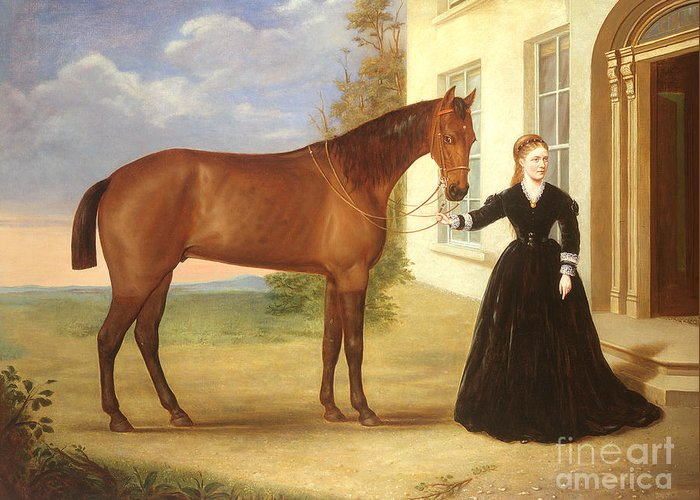 Portrait Greeting Card featuring the painting Portrait Of A Lady With Her Horse by English School