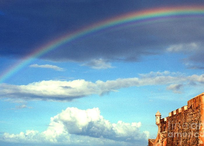 Puerto Rico Greeting Card featuring the photograph Rainbow Over El Morro Fortress by Thomas R Fletcher