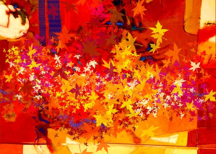 Abstract Greeting Card featuring the painting Red Autumn by Dale Witherow
