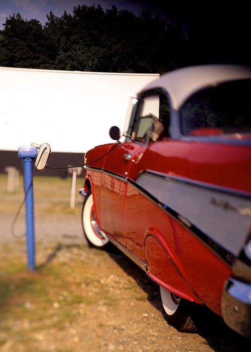 \'57 Greeting Card featuring the photograph Red Chevy At The Drive-in by Robert Ponzoni