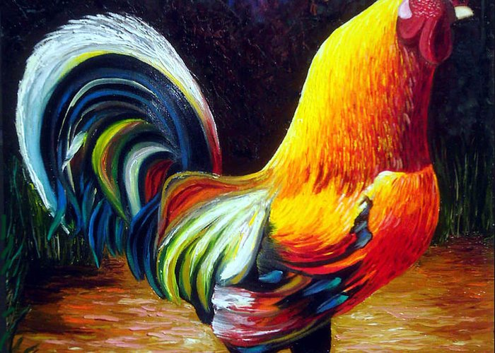 Cuban Art Greeting Card featuring the painting Rooster by Jose Manuel Abraham