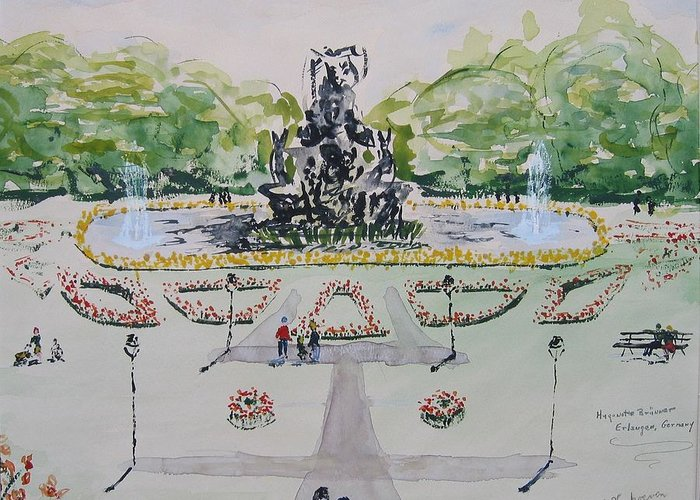 Locked Garden Erlangen University Germany Greeting Card featuring the painting Schlossgarten Erlangen University Germany by Alfred P Verhoeven