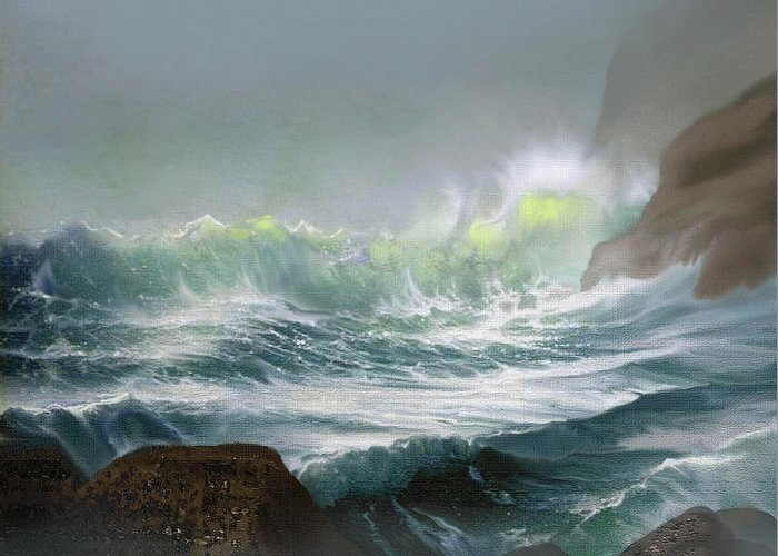 Seascape Greeting Card featuring the painting Seaswell by Robert Foster