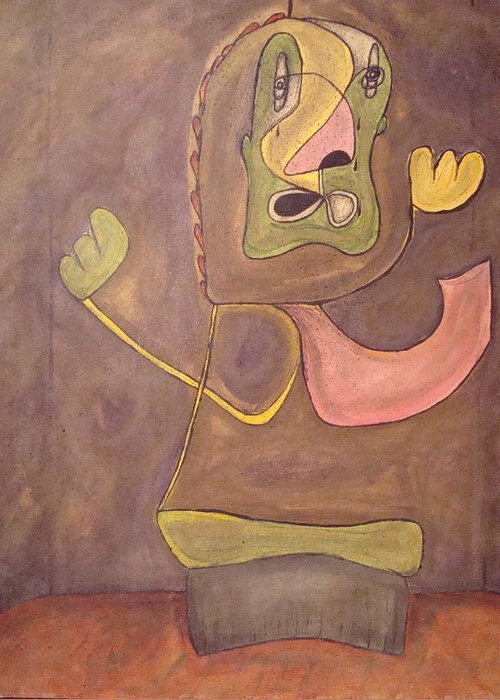 Abstract Face Greeting Card featuring the painting Sitting Stone by W Todd Durrance