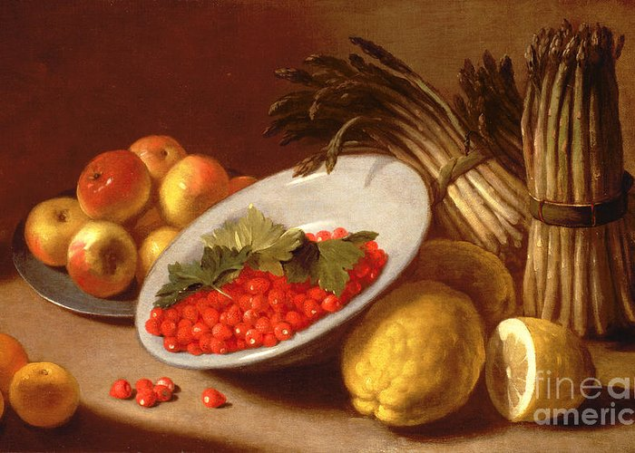 Still Greeting Card featuring the painting Still Life Of Raspberries Lemons And Asparagus by Italian School
