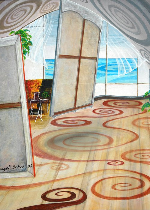 Acrylic Paintng Greeting Card featuring the painting Studio Sin Fin by Angel Ortiz
