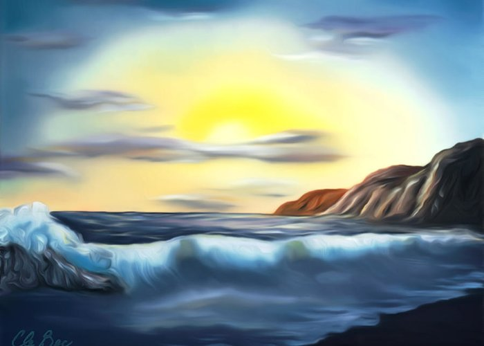 Sunset Greeting Card featuring the painting Sunset Beach Pastel Splash Dreamy Mirage by Claude Beaulac